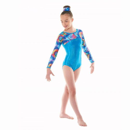Tappers and Pointers Gymnastics Long Sleeved Leotard Meteor Turquiose Gym 49